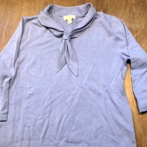 Periwinkle nautical collared 3/4 sleeve top